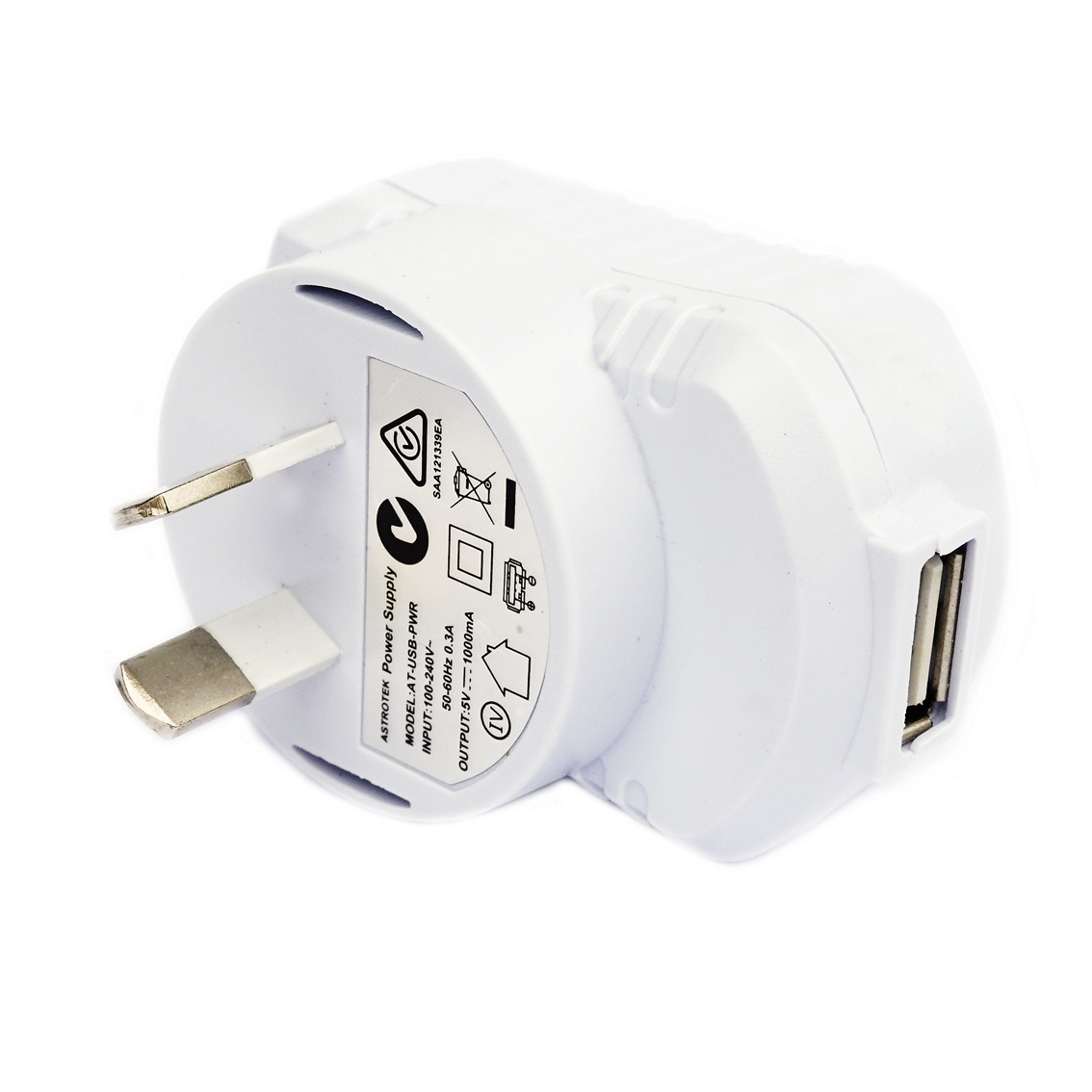 Astrotek USB Wall Power Charger Output: 5V 1A, Input: 110-240V AU Plug for Smartphones, Tablets White