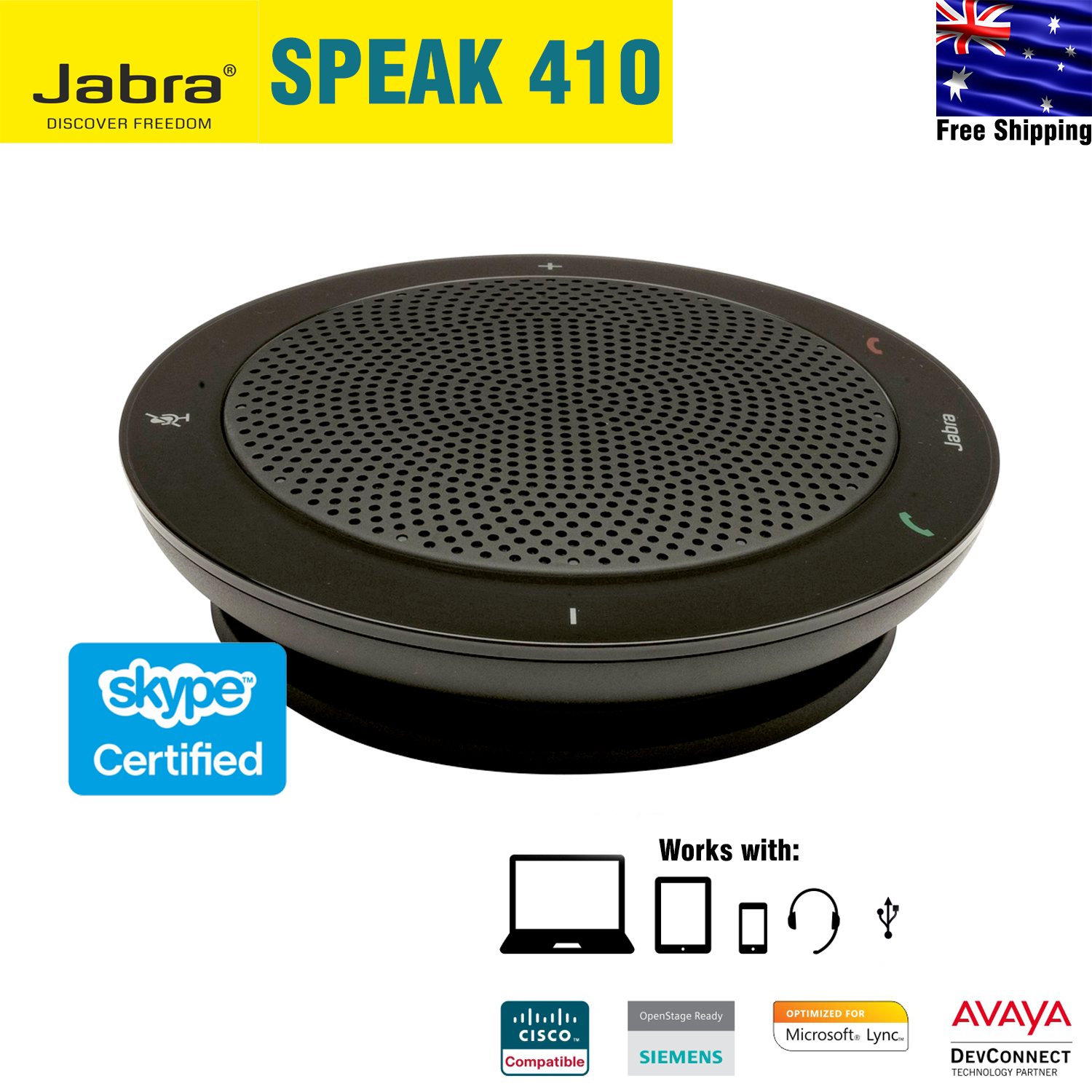 Jabra Speak 410 for PC USB Speakerphone with 3 5mm for Headset Connect,  Certified for Skype for Business, Black