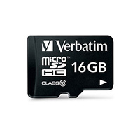 Verbatim 16GB MicroSD High Capacity SDHC Memory Card, Class 10 (up to 45MB/s)  with SD Adapter