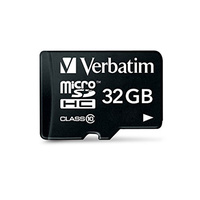 Verbatim Micro SDHC 32GB (Class 10) with Adaptor