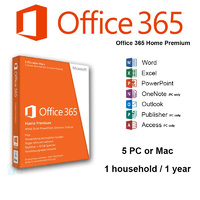 Microsoft Office 365 Home Premium 1 Year Subscription Key Code Only - Electronic License (ESD Download Version)  for 5PC MAC Tablets or Smartphone