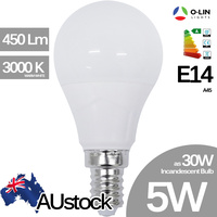 O-Lin 5W A45 LED Bulb, E14 Small Edison Screw, 400-450Lm, 3000K (Warm White), Equivalent 30W Incandescent Bulb, up ot 40.000H Usage