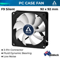 Arctic Cooling F9 Silent, 90 mm 3-Pin Fan with Standard Case and Higher Airflow, Quiet and Efficient Ventilation
