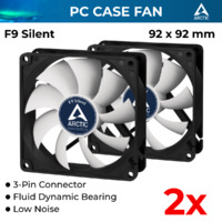 2x Arctic Cooling Low Noise Case Silent Fan AC-F9-S 92mm 3-Pin Fluid Bearing Quiet