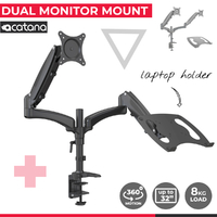 Acatana Dual Monitor Stand Desk Mount Laptop Tray Holder Adapter Screen Bracket
