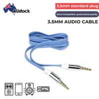 Astrotek Stereo 3.5mm Flat AUX Cable - Male to Male - Gold plating - Metal plug - 1.0m (Blue)