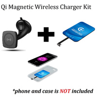 Kome C102 QI Magnetic Wireless Car Charger for Qi-enabled devices + Kome Qi Wireless Charger Charging Receiver Inner Patch Module for Regular Android