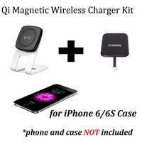Kome C301 10W QI Magnetic Wireless Desk Charger + Kome Qi Wireless Receiver for iPhone 4 5 6 7