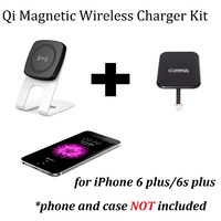 Kome C301 QI Magnetic Wireless Desk Charger + Kome Qi Wireless Charger Receiver Patch Module for iPhone 4 5 6 7
