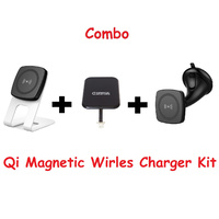 Kome C301 QI Magnetic Wireless Desk Charger + Kome C102 QI Magnetic Wireless Car Charger + Kome B103 Qi Wireless Receiver for iPhone 4 5 6 7