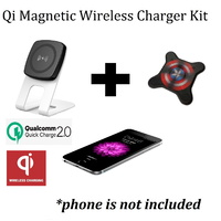 KIT: Kome C301 QC 2.0 Magnetic Wireless Qi Desk Charger + S2 Magnetic Sticker - Universal Quick Charging Stand for Qi devices and Phones