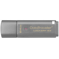 Kingston Digital 64GB Data Traveler Locker + G3, USB 3.0 Flash Drive with Personal Data Security and Automatic Cloud Backup