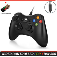 For Xbox 360 Wired Controller Gamepad Console Game Joypad Games Black 2.5m Cable