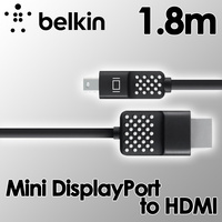 Belkin Mini DisplayPort to HDMI Cable 1.8m, HDTV Display Cable, 4K Compatible for MacBooks, Ultrabooks