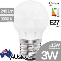 O-Lin 3W G45 LED Bulb, E27 Edison Screw 230-240Lm, 2700-3000K (Warm White), Equivalent 15W Incandescent, up to 40.000H Usage