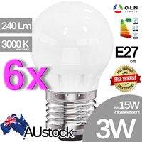 6x O-Lin 3W G45 LED Bulb, E27 Edison Screw 230-240Lm, 2700-3000K (Warm White), Equivalent 15W Incandescent, up to 40.000H Usage