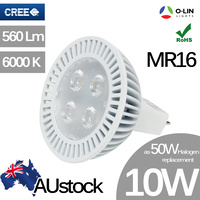 O-Lin 10W MR16 LED Spotlight Bulb, 560Lm, 50x50mm, 6000K (Cool White), Equivalent to 50W Halogen, Cree LED Chip, 50.000 Hours Usage