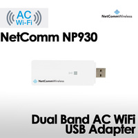 NetComm NP930 Dual-Band AC1200 External WiFi Adapter (2.4GHz up to 300Mbps and 5GHz up to 866.7Mbps), USB 2.0, Plug and play, WPS