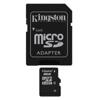 Kingston 8GB microSDHC Memory Card Class 4 with SD Adapter for Smartphones Digital Camera